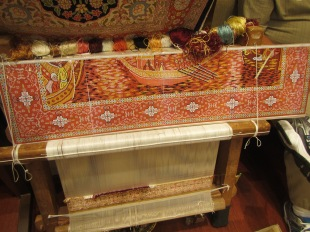 Hand-knotted silk carpet