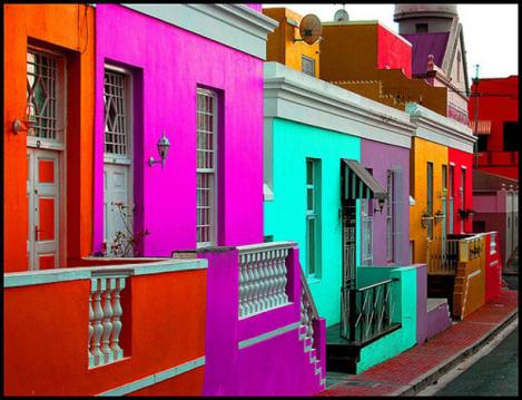 Bo-Kaap was whitewashed rental properties for low-wage laborers during apartheid. When apartheid ended the inhabitants painted the homes in bright hues to celebrate.
