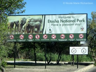 Etosha welcome sign